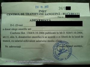 cum si unde donezi sange bonuri bani 63 lei, adeverinta zi libera serviciu pentru donare sange centrul de transfuzie sanguina, bucuresti, ceicunoi.wordpress.com
