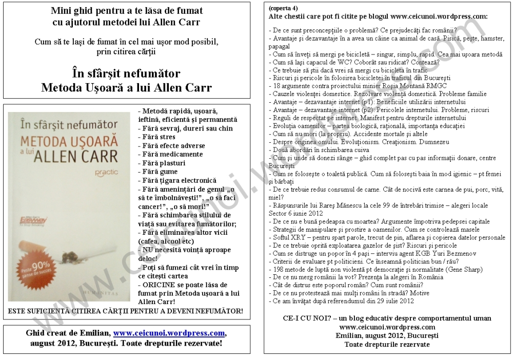Cum sa te lasi de fumat in cel mai usor mod posibil. Ghid complet metoda Allen Carr(s12) (2/6)