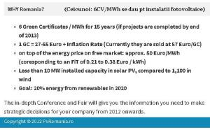 conferinta targ pvromania instalatii fotovoltaice energie verde regenerabila certificate verzi preturi cost mwh curent electricitate pret cv mwh, ceicunoi.wordpress.com