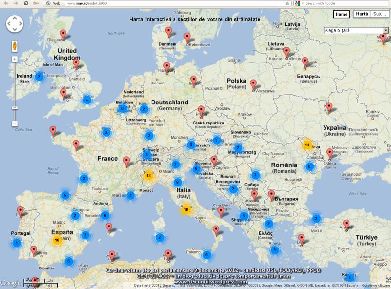 unde cum votezi romani strainatate sectii votare colegii camera deputatilor senat alegeri parlamentare 9 decembrie 2012 harta interactiva lista