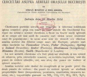 cercetari asupra aerului poluarea orasului bucuresti stefan minovici emil grozea laborator chimie analitica universitatea bucuresti 1914 co2 ozon praf daco romanica biblioteca net
