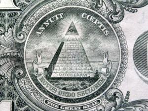 simboluri masonice semne piramida cu ochiul care vede tot in varf pe bancnota de un 1 dolar american, masonerie, franc masoni, cine conduce lumea