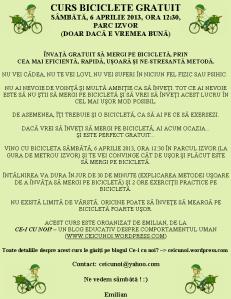 curs gratuit cum inveti sa mergi cu pe bicicleta sfaturi biciclisti incepatori intalnire 6 aprilie 2013, ora 12 30, parc izvor gura metrou bicicletele, metoda usoara