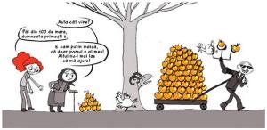 implicatii argumente efecte riscuri pericole proiectul minier cianuri rosia montana pe scurt pe intelesul tuturor oricui ileana surducan ilustratie desen pom mere baba om rau care fura