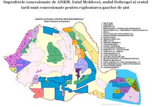 harta exploatari gaze sist suprafete concesionate explorare exploatarea gazelor de sist ANRM moldova dobrogea fracturare hidraulica poluare pericole mediu sanatate