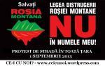 Protest in strada 1 septembrie O9  2013 pentru Rosia Montana impotriva exploatarii Gazelor de sist, in Bucuresti la Universitate si in toata tara Romania la fantani piata universitatii
