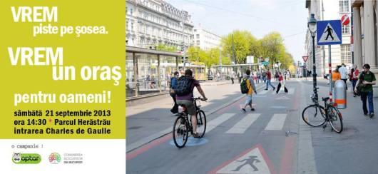 Protest bicicleta 21 septembrie 09  2013 Marsul biciclistilor cu biciclete pe carosabil strada manifestatie eveniment Ziua fara masini Vrem piste pe sosea Vrem un oras pentru oameni