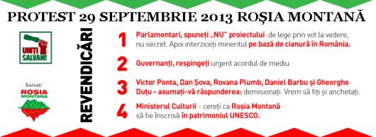 Protest manifestatie miting anti proiect cianuri Rosia Montana 29 septembrie 09 2013 #5 Uniti salvam Rosia Montana Romania steag ungaria revendicari protestatari ong soros 2