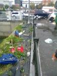 2 poze imagini foto furtuna ploaie vijelie Bucuresti umbrele rupte aruncate peste tot pe jos strada despre societatea romaneasca comportamentul romanilor in prezent lipsa bun simt gunoaie aruncate