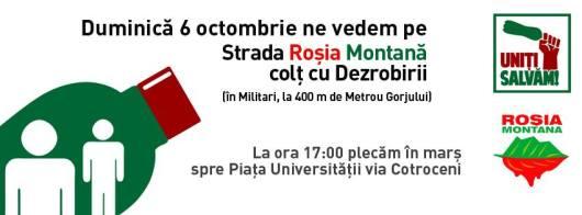 Protest Rosia Montana Bucuresti traseu cartier Militari Universitate, 6 octombrie 10 2013. Mars miting manifestatie impotriva anti contra proiectul minier cu cianuri RMGC