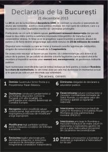 declaratia de la bucuresti cerinte protestatari protest de amploare Bucuresti 21 12 decembrie 2013 pentru dreptate normalitate in Romania impotriva coruptie sclavie anti mafie hoti