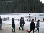 36 poze foto imagini lacu rosu bicaz chei inghetat iarna ianuarie 2014 oameni care merg pe apa lacului lac gheata cu patine de gheata pe lac inghetat natural strat gheata zapada munte judetul neamt