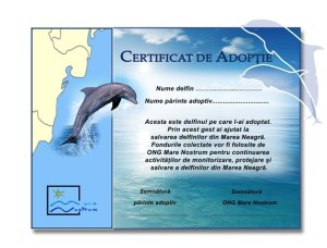 certificat adoptie delfini adopta un delfin ong mare nostrum protectia delfinilor marea neagra litoral constanta biodiversitate romania