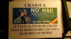 neagoe ilie craiova pancarta banner slogan solidaritate romaneasca eveniment no hai 19 martie 2014 manifestatie unitate romani sustinerea romanilor din covasna, harghita,  mures