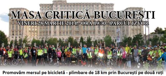 Plimbare pe bicicleta Bucuresti 28 martie 2014 ora 19 30 parcul Izvor Masa Critica Bucuresti promovam transportul alternativ printr-un traseu de 18 km pe doua roti iesire biciclete parc