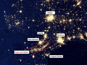 flacari care se vad din satelit de la metanul care iese prin puturile de fracking si nu este exploatat, ci doar ars - exploatarea Eagle ford America