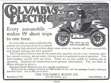 columbus electrica reclama anunt publicitate veche masina electrica la 1909 avantajele vehiculelor autoturismelor electrice energie electricitate versus motoare combustie poluare