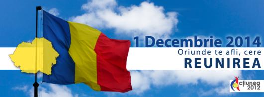Eveniment - de 1 decembrie 2014 cerem REUNIREA! Fa-ti o poza cu un tricolor și un mesaj pentru Unire!