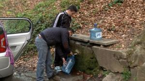 """Importanța pădurilor seculare pentru conservarea surselor de """"apă vie"""" (""""sângele Pământului"""") apa de izvor rece munte in bidon plastic pet marginea drumului padure"""