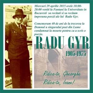 eveniment universitate comemorare poet radu gyr 40 ani de la moarte 29 aprilie 2015 poezie ridica-te gheorghe ridica-te ioane