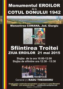 sfintirea troitei monumentul eroilor 21 mai 2015 soldati romani cotul donului 1942 manastirea comana giurgiu
